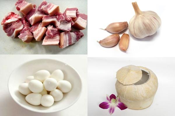 nguyên liệu thịt kho dừa